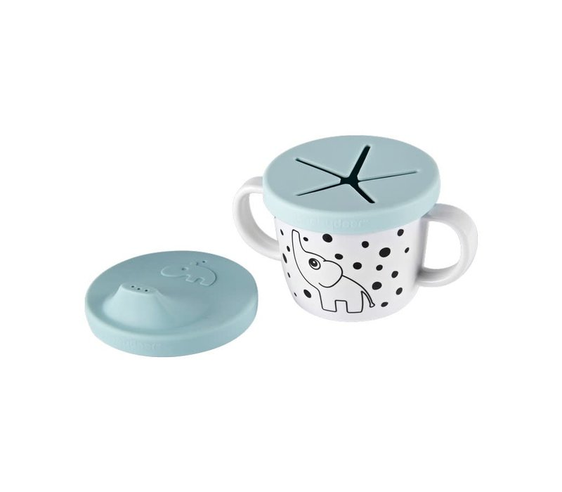 Silicone spout/snack cup, Elphee, blue