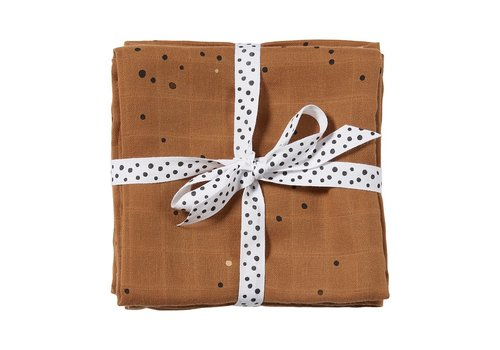 Done by Deer Burp cloth, 2-pack, Dreamy dots, mustard