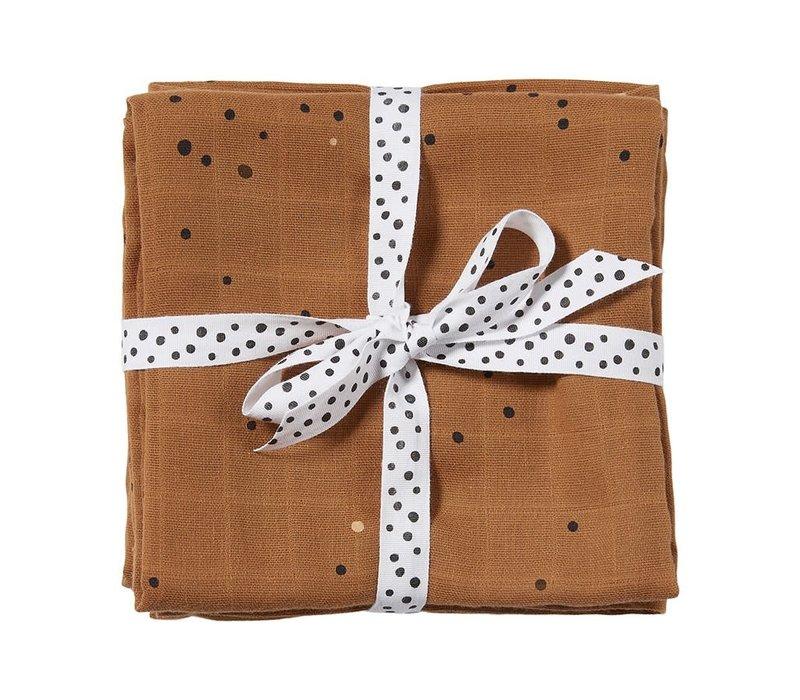 Burp cloth, 2-pack, Dreamy dots, mustard