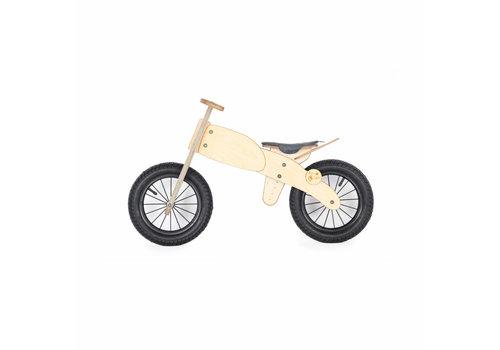 DipDap Houten Loopfiets moto - grijs