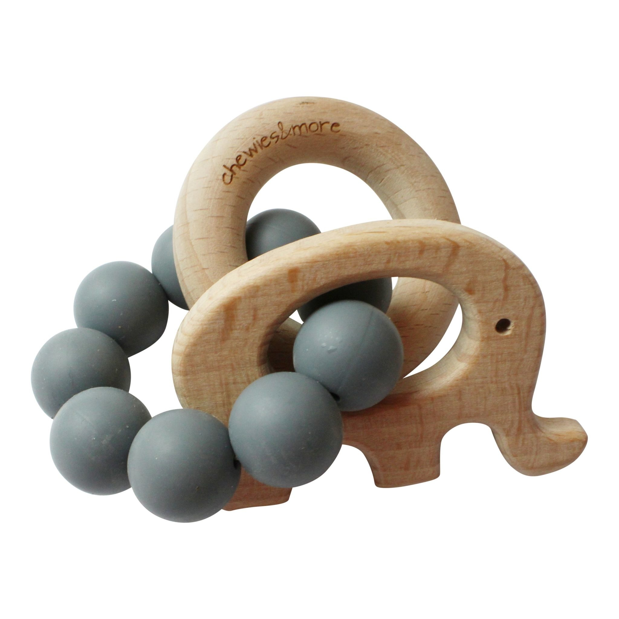 Chewies & More Play Rattle Elephant - Donkergrijs