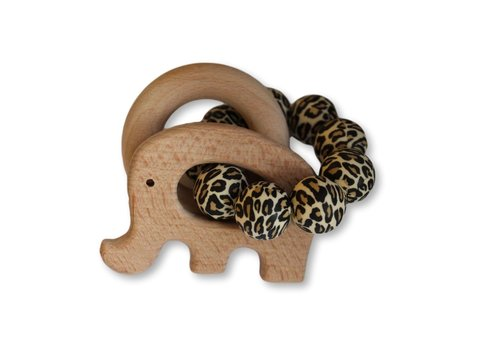 Chewies & More Play Rattle Elephant - Leopard