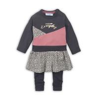 2 pce Babysuit dress  Dark brown + dark old pink + aop