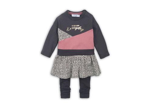 Dirkje 2 pce Babysuit dress  Dark brown + dark old pink + aop