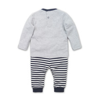 2 pce Babysuit  Grey melee + navy