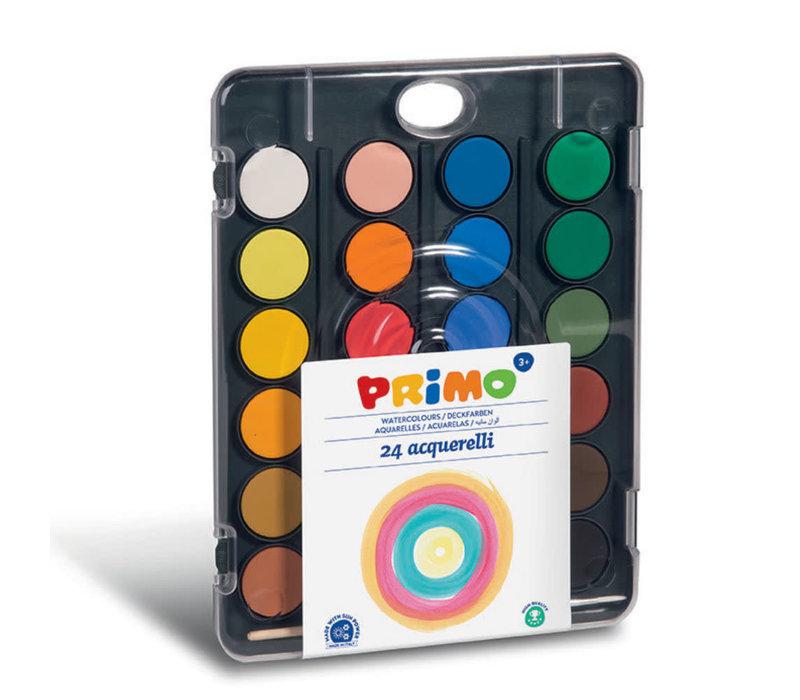 Aquarelverf tablet/penseel ø30mm (24 kleuren)