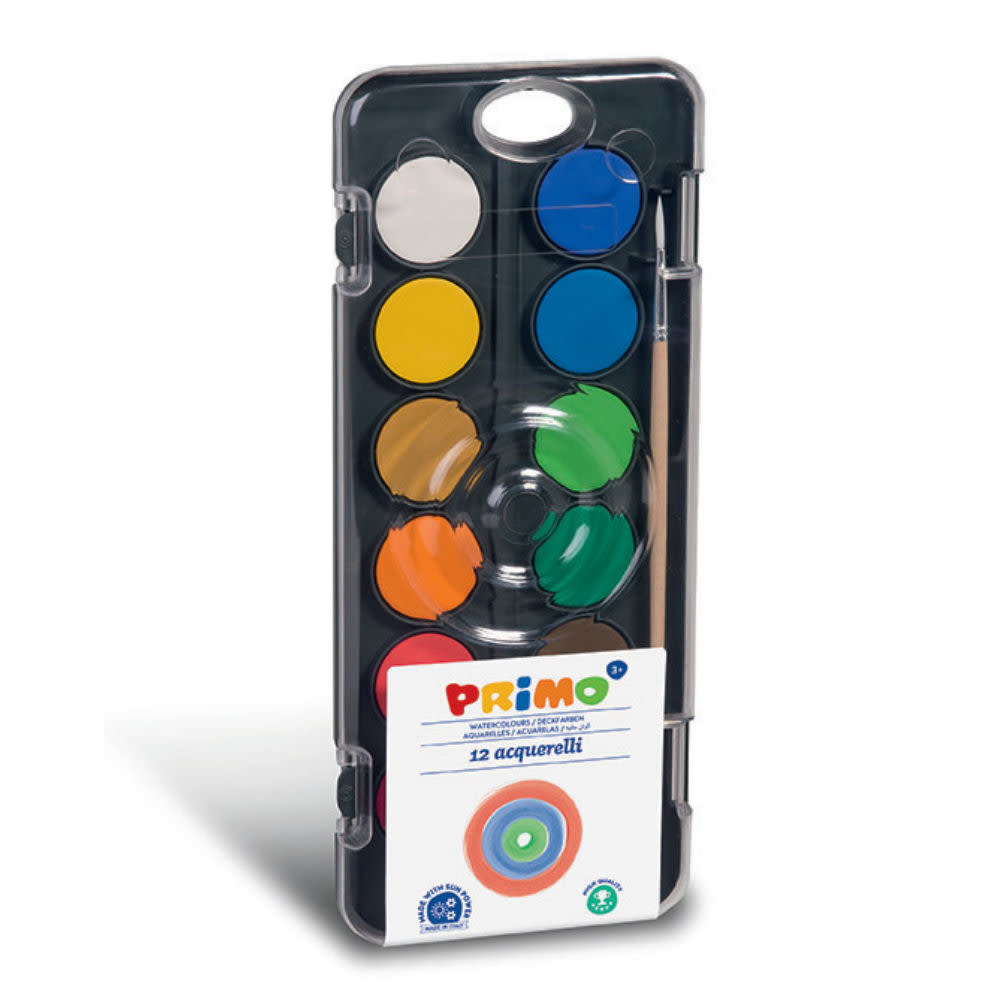 Primo Aquarelverf tablet/penseel ø30mm (12 kleuren)