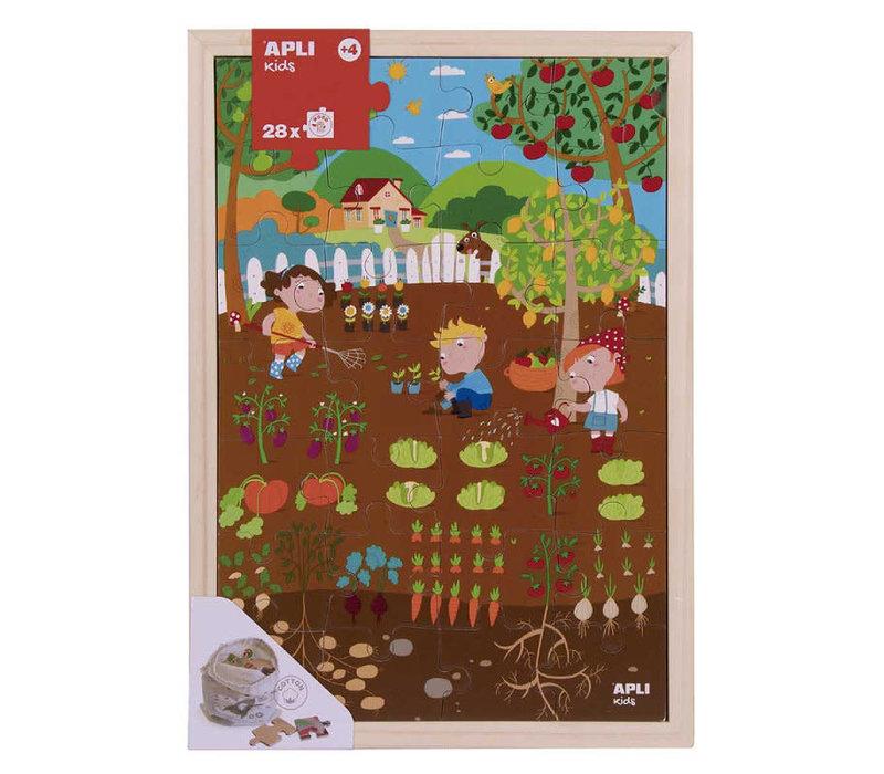 Houten puzzel - Tuin 28-delig
