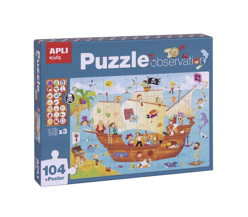 Piratenschip Observeer Puzzel 104-delig