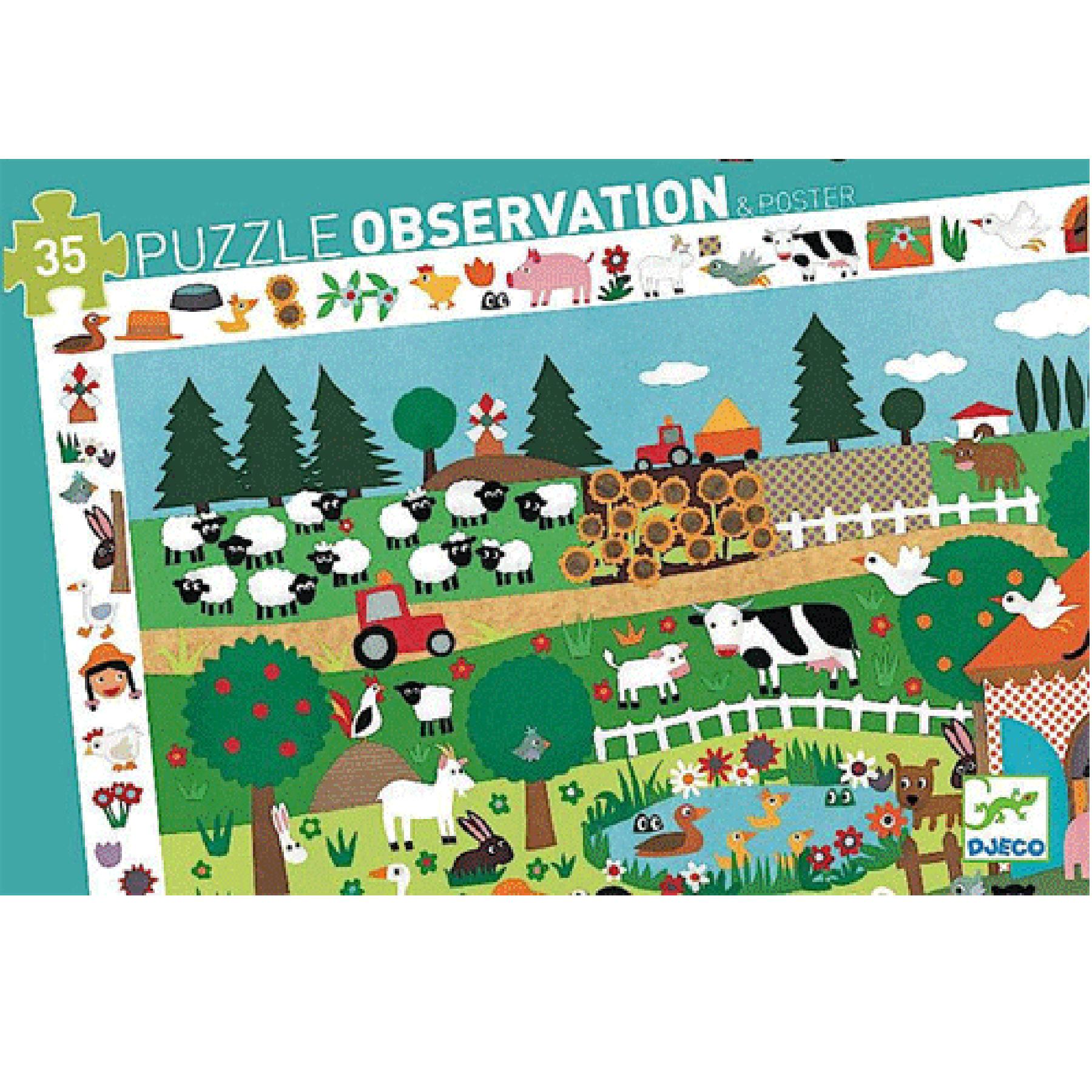 Djeco Observatie Puzzel - Boerderij - 35 PCS