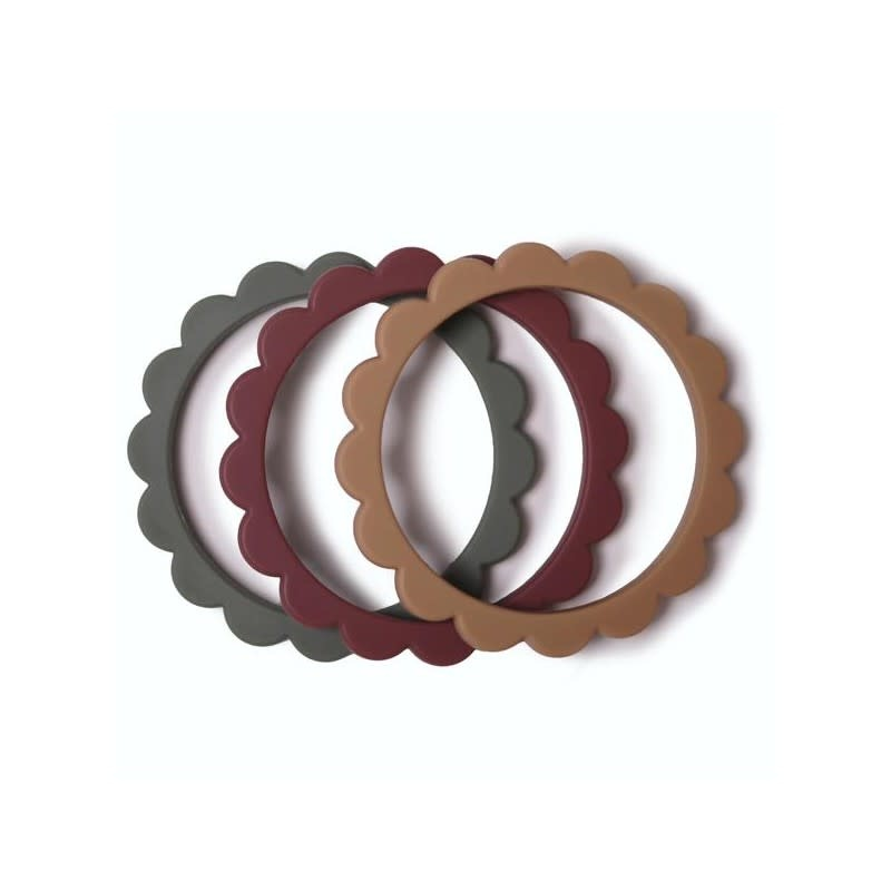 Mushie Bijtring 3x - Flower Bracelet - Dried Thyme/Natural/Berry