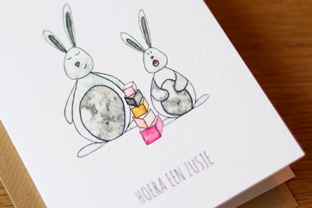 Juulz Illustrations Kaart - Zusje konijntjes