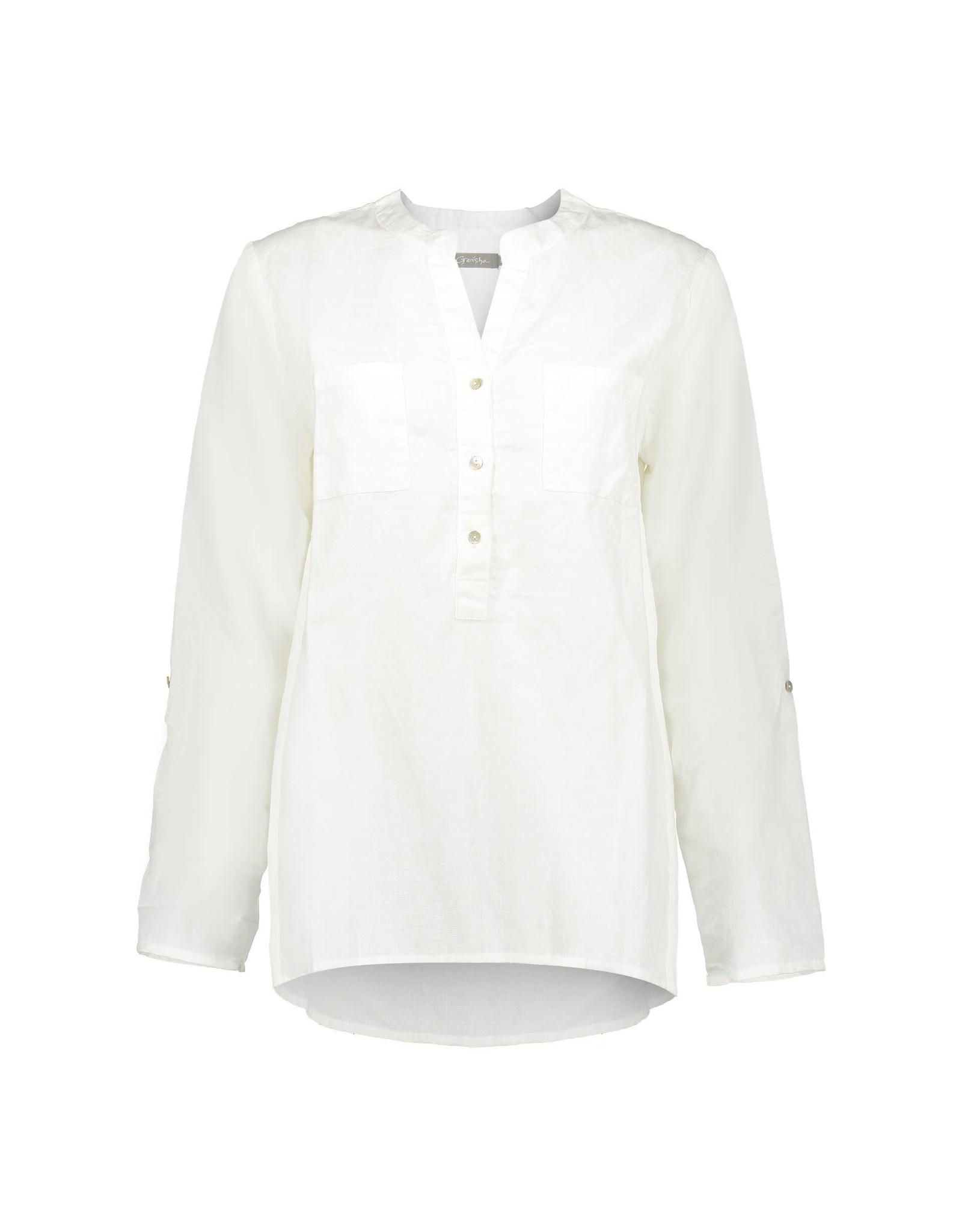 Geisha top solid chest pockets 03071-85