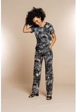 Geisha Wijde broek met print bladeren
