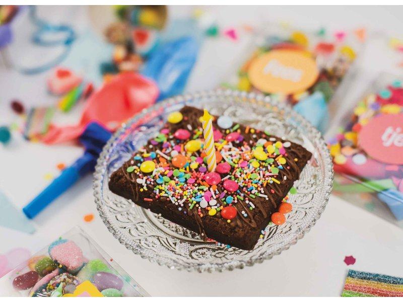 Duo setje: Brownies en feest doosje (met opdruk)