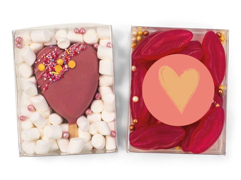 Duo setje: Cakesicle hart & lipjes