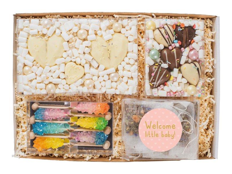 Cadeaupakket XL | Zwangerschap (choco harten, thee & pastel sticks)