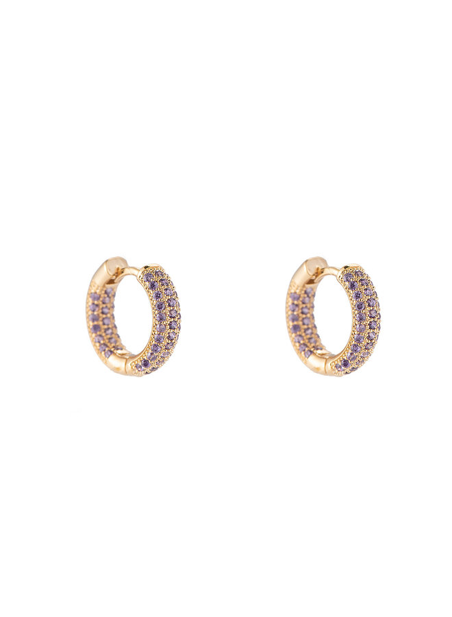 Color hoop gold plated - Lila stone