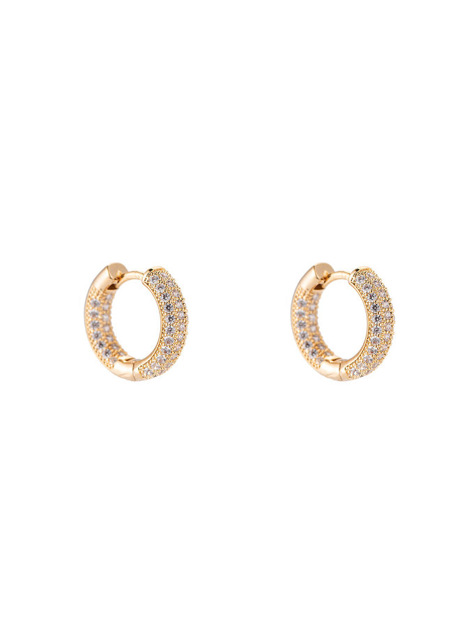 Color hoop gold plated - White stone