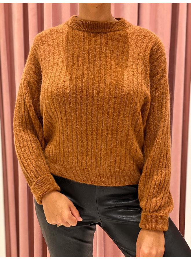 Rib sweater - Cognac