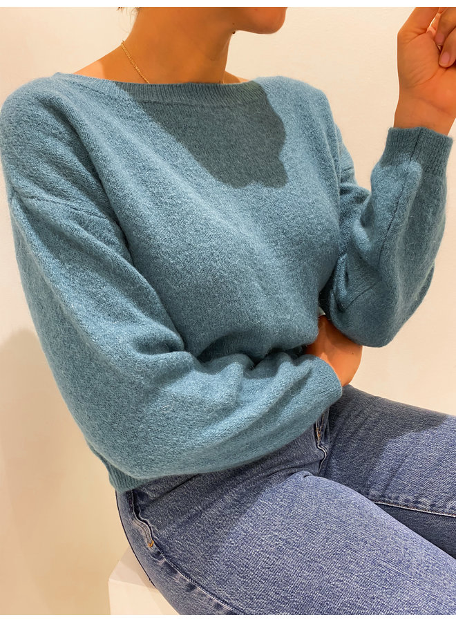 OFF SHOULDER SWEATER - DEEP MINT