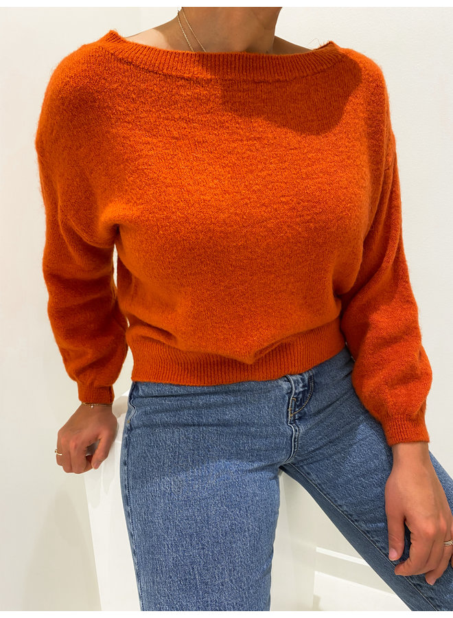 OFF SHOULDER SWEATER - RUST ORANGE