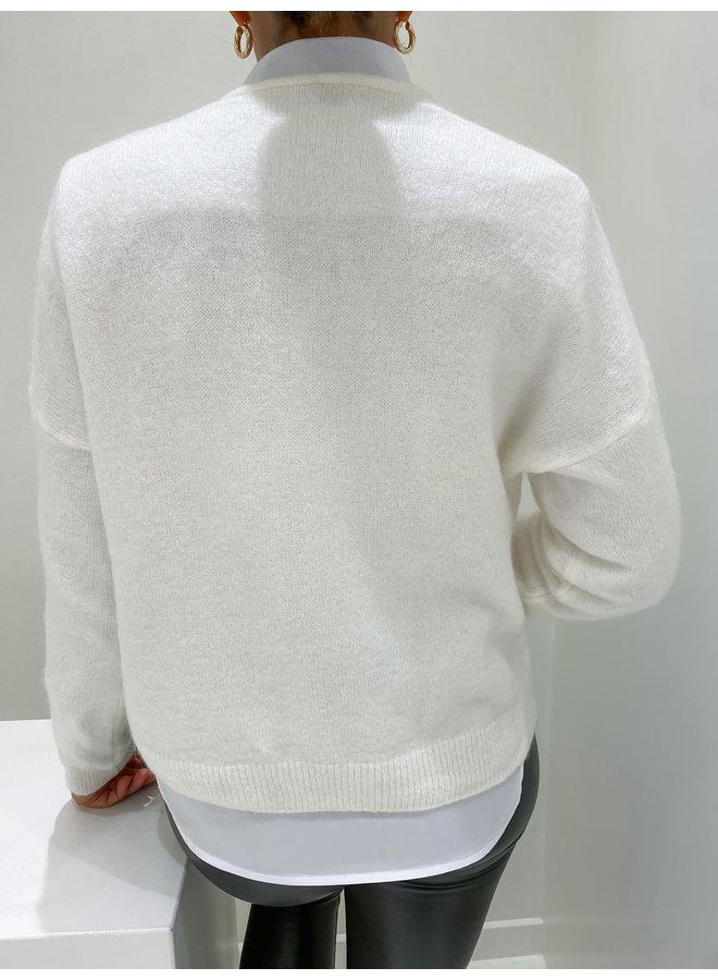 BUTTON VEST - WINTER WHITE
