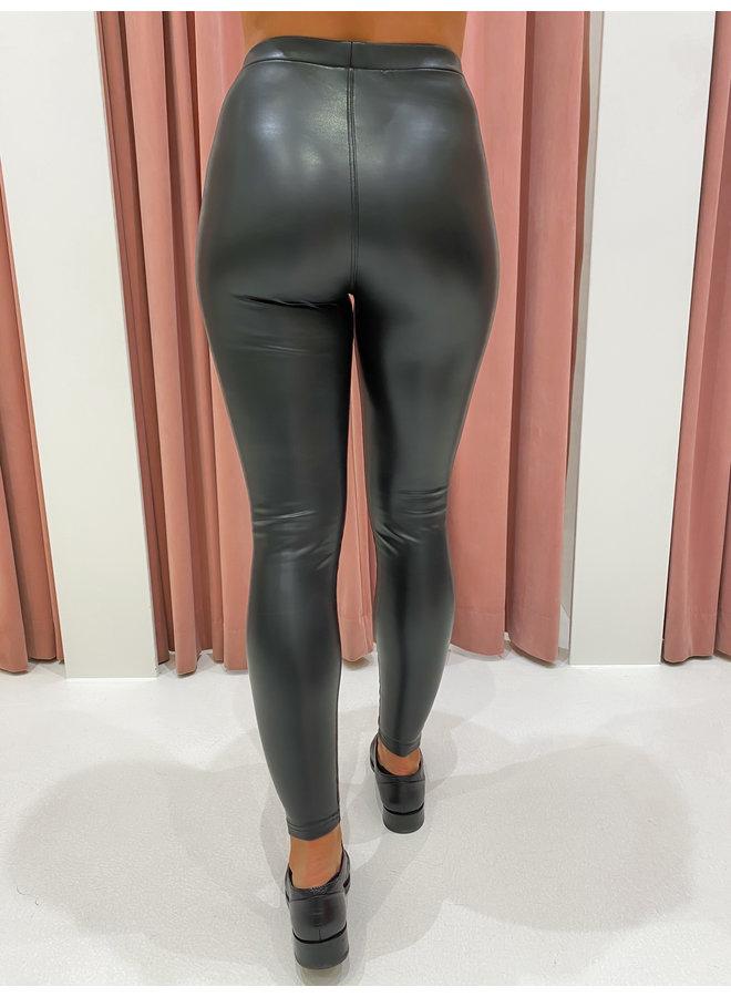 LEATHER LOOK LEGGING - BLACK