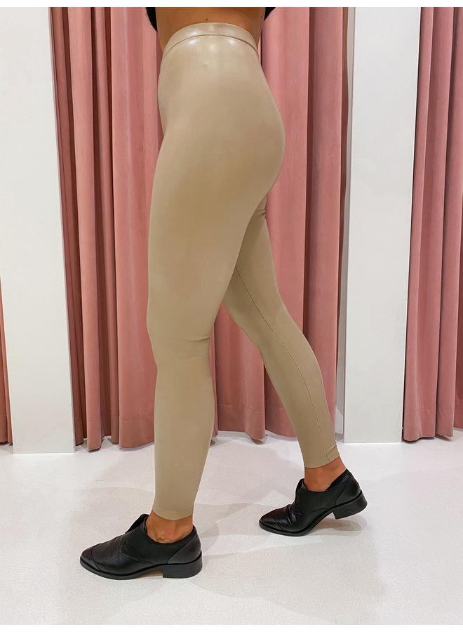 LEATHER LOOK LEGGING - BEIGE
