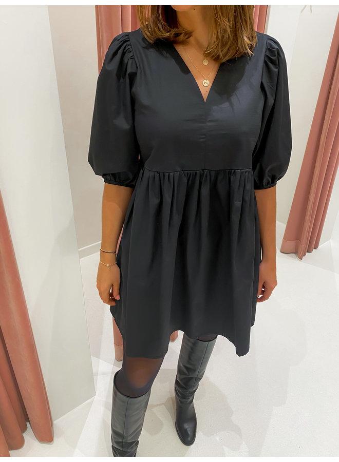 BALLOON SLEEVE DRESS - BLACK