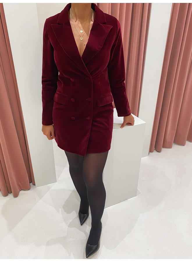VELVET BLAZER DRESS - BORDEAUX