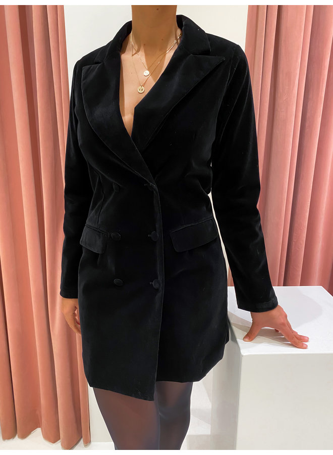 VELVET BLAZER DRESS - BLACK