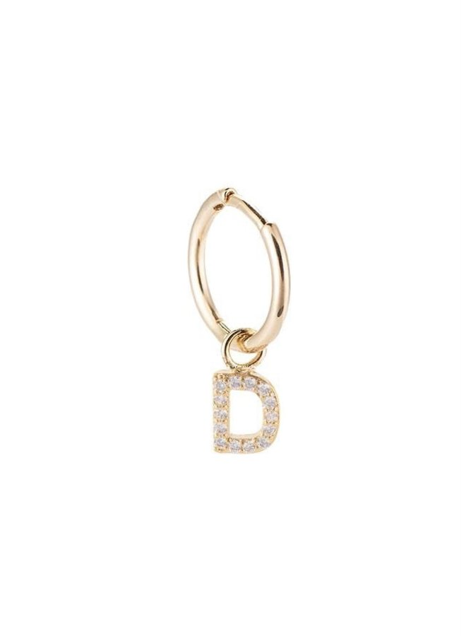 SINGLE INITIAL EARRING-D