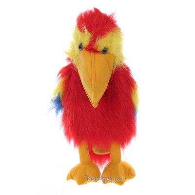 The Puppet Company handpop papegaai (scarlet geelvleugel ara)