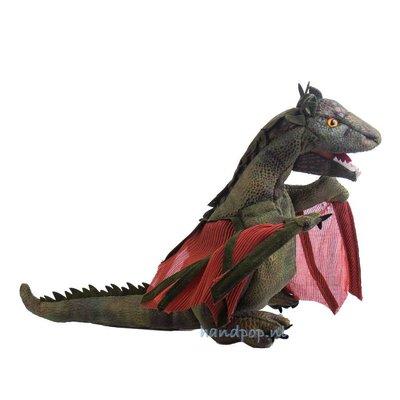 Folkmanis handpop draak met rode vleugels