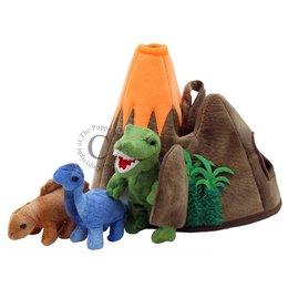 The Puppet Company vingerpopjes dinosaurus vulkaan