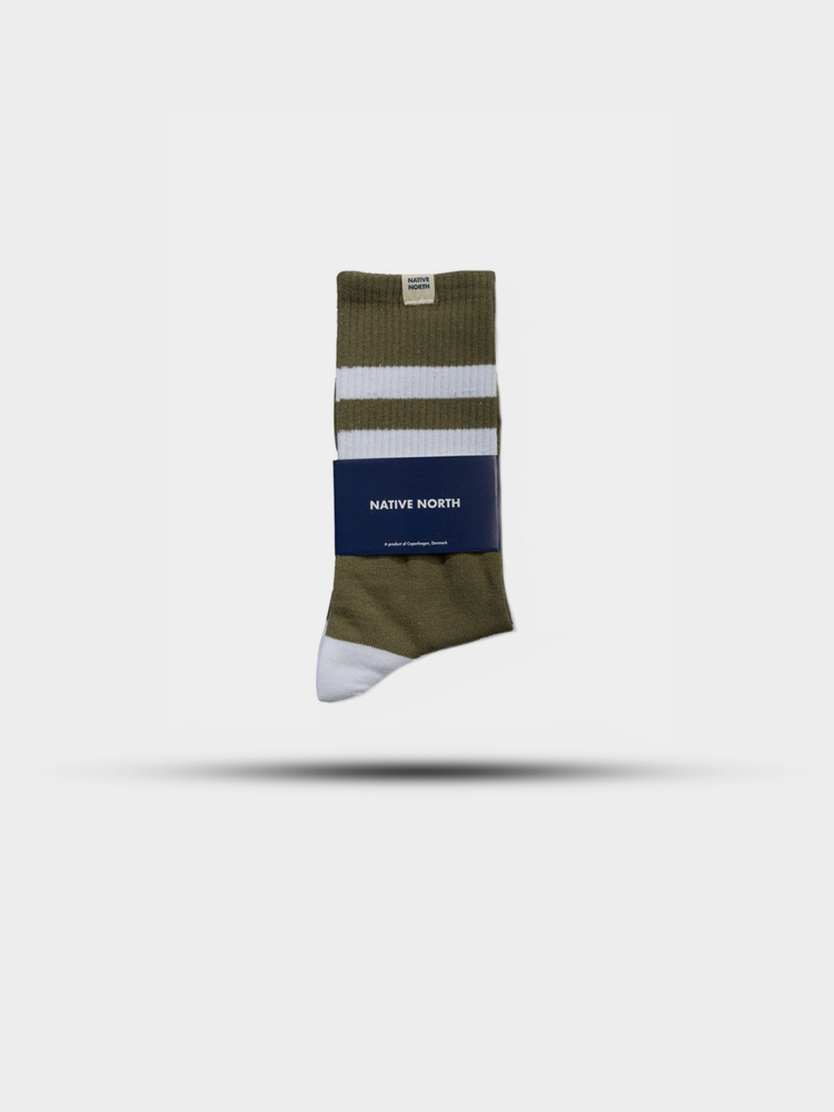 Native North Native North Striped Socks Olive/White