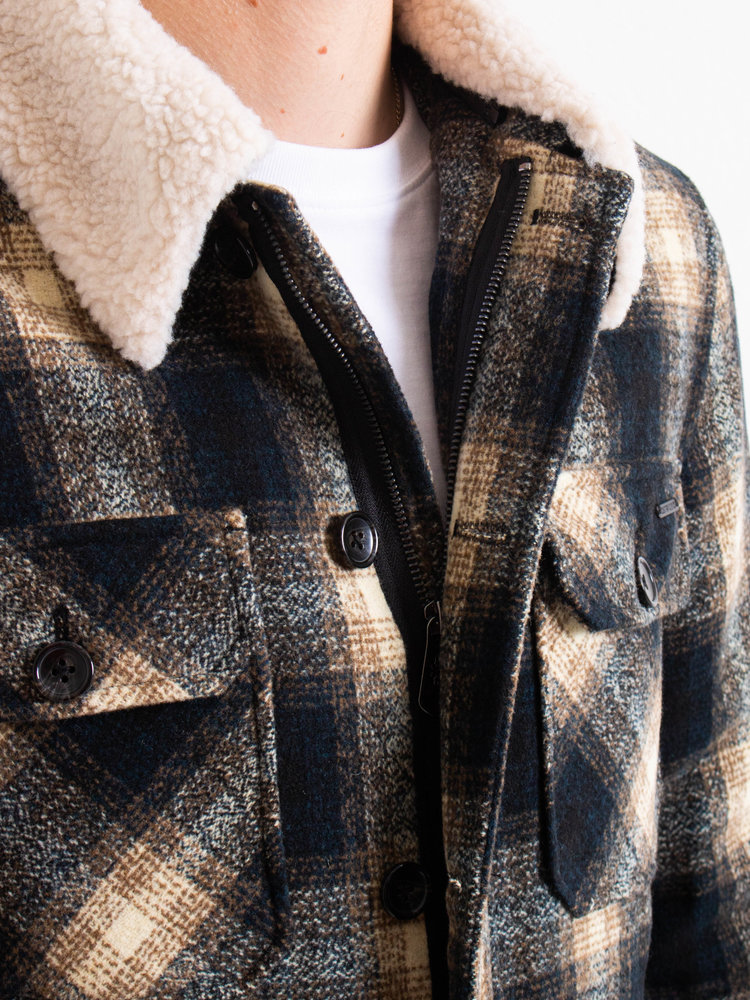 Dstrezzed Dstrezzed Carpenter Jacket Wool Check Dark Navy