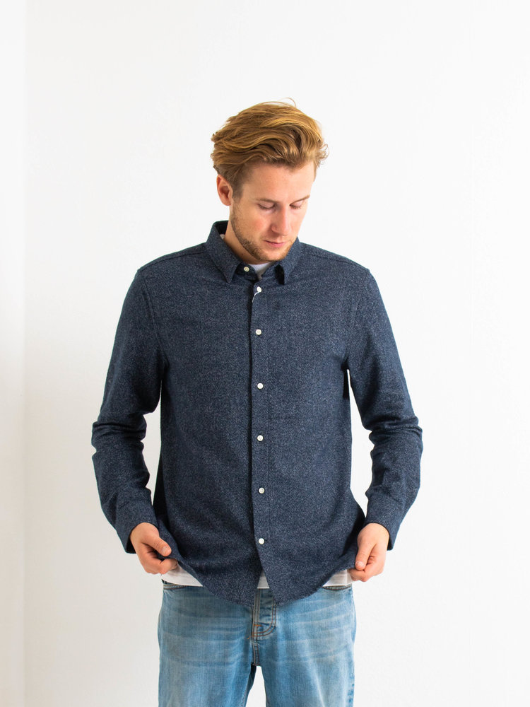 Knowledge Cotton Apparel Knowledge Cotton Apparel Larch Brushed Shirt Total Eclipse
