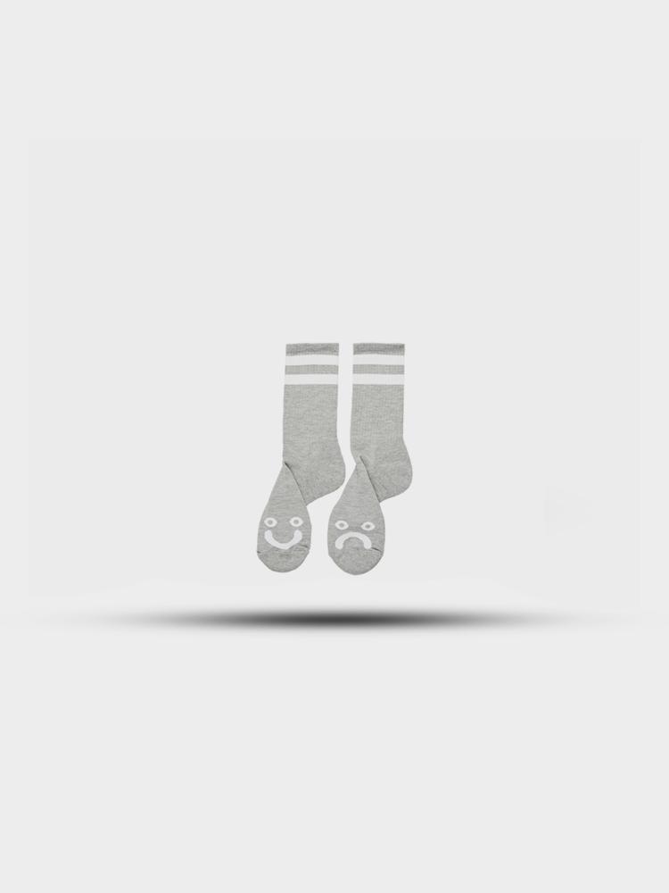 Polar Skate Co. Polar Happy Sad Socks Heather Grey