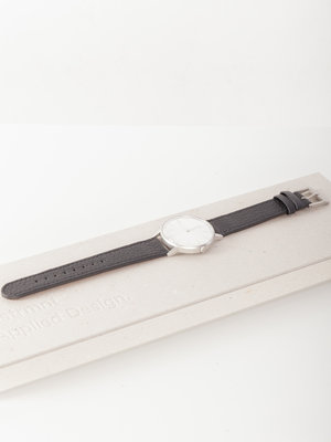 INSTRMNT Dress Watch 36mm Silver/Deerskin