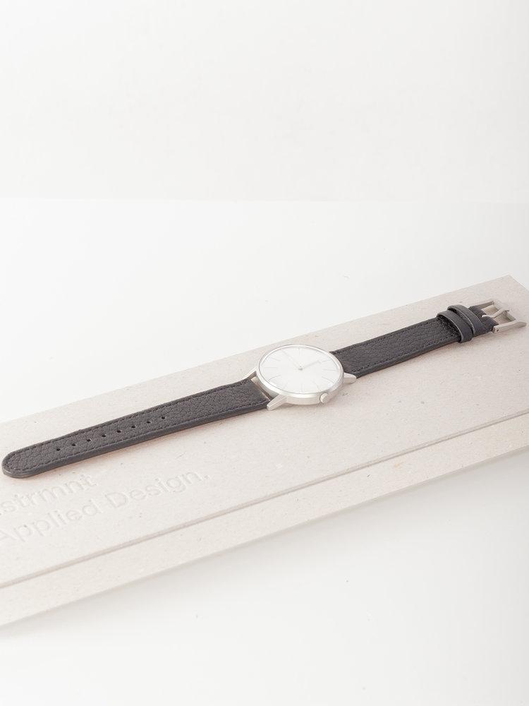 INSTRMNT Dress Watch 36mm Silver/Deerskin