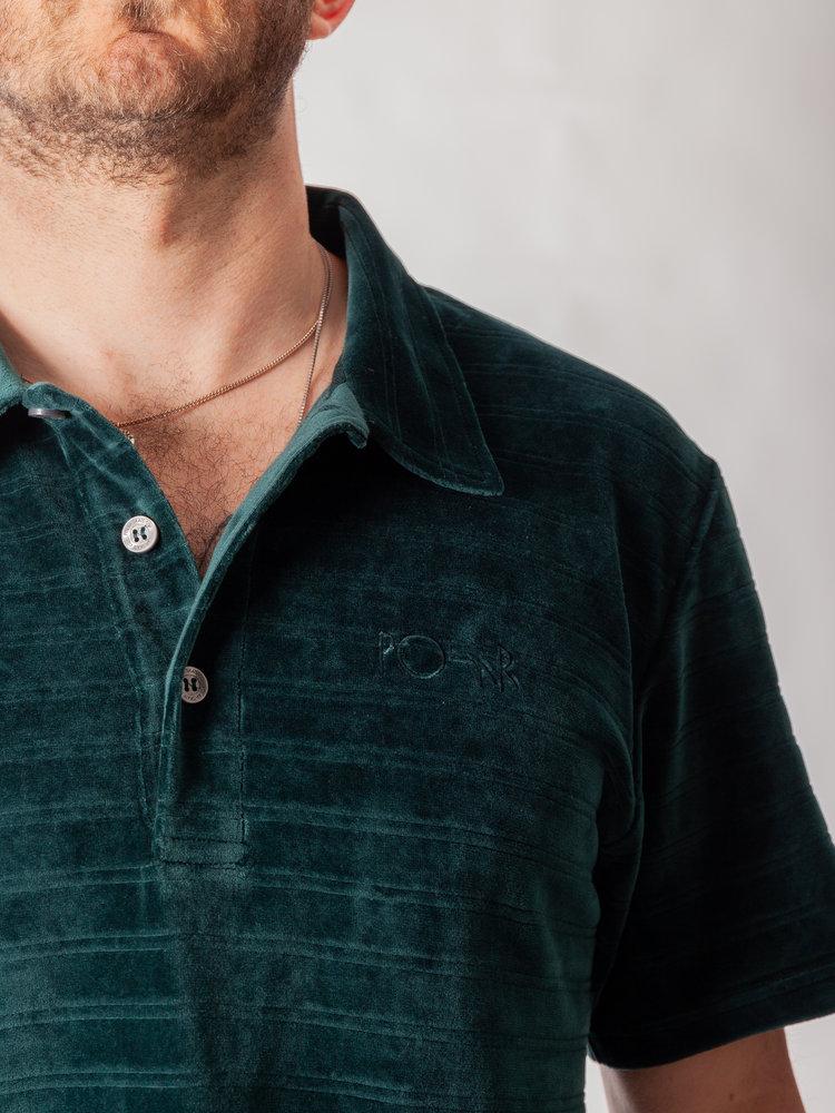 Polar Skate Co. Stripe Velour Polo Shirt Dark Green