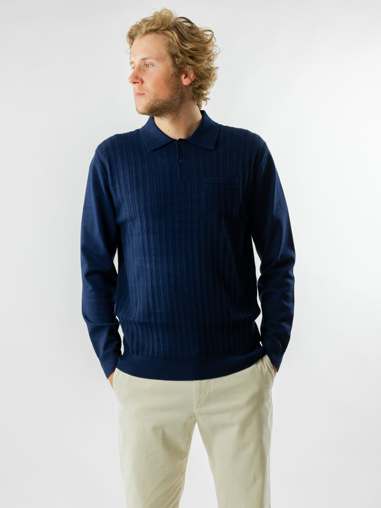 Wax London Oban Polo Fine Rib Knit Navy