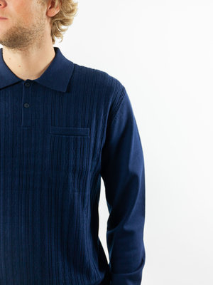 Wax London Wax London Oban Polo Fine Rib Knit Navy