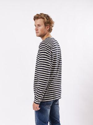 Nudie Jeans Otto Breton Stripe Navy/Eggwhite