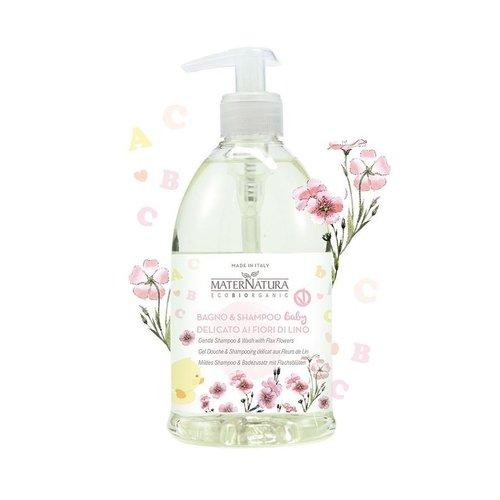 MaterNatura Baby Shampoo & Badschuim (Vlasbloem)