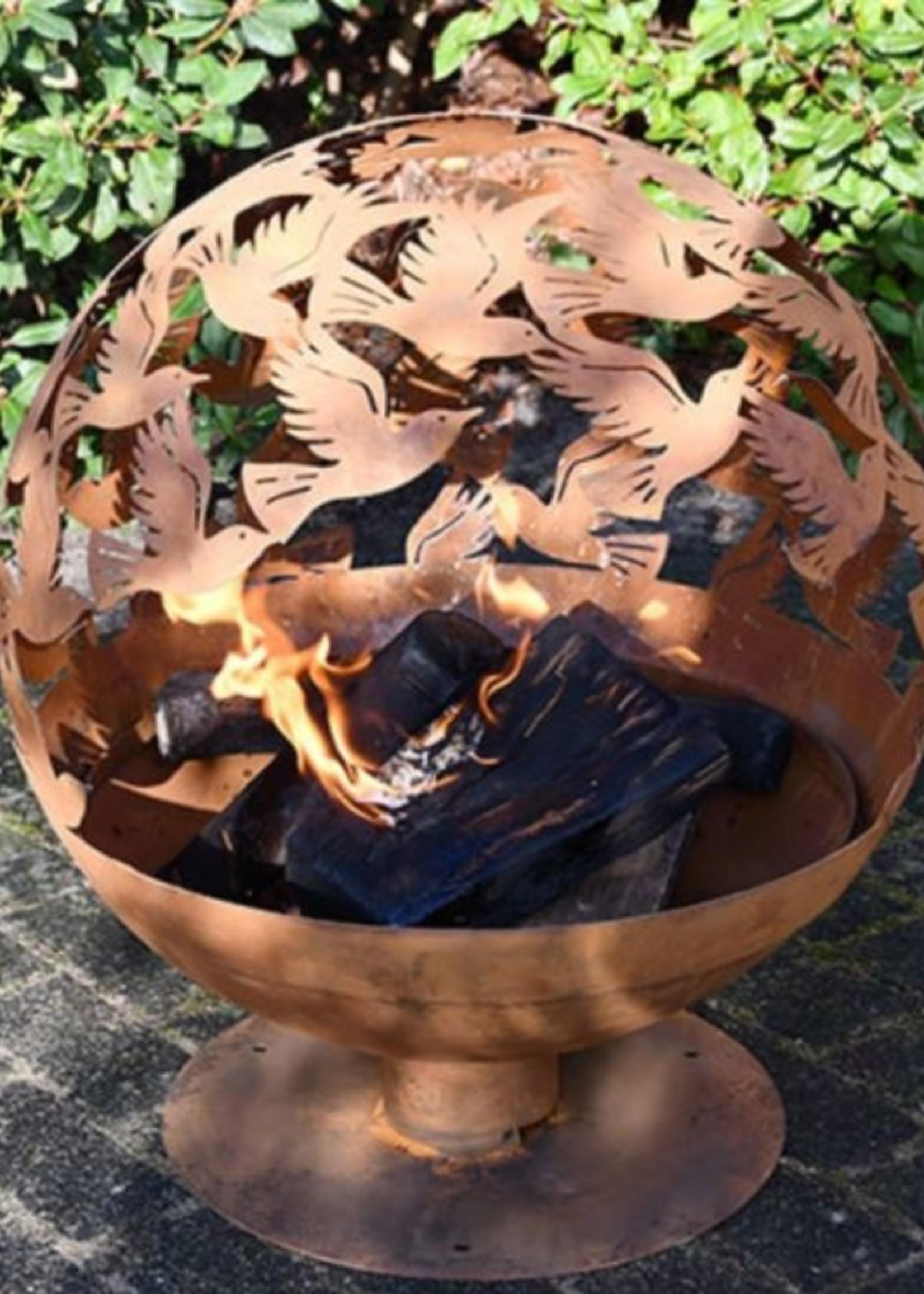 Esschert Design Vuurkorf type vuurbal design vogels - roest