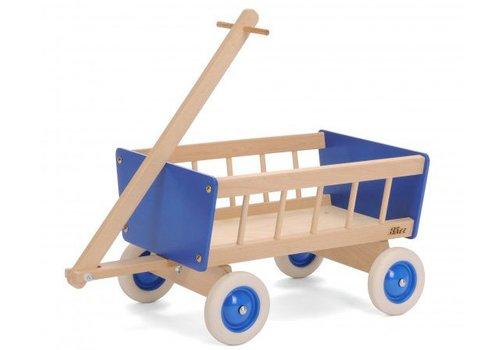 Houten Poppenwagen blauw