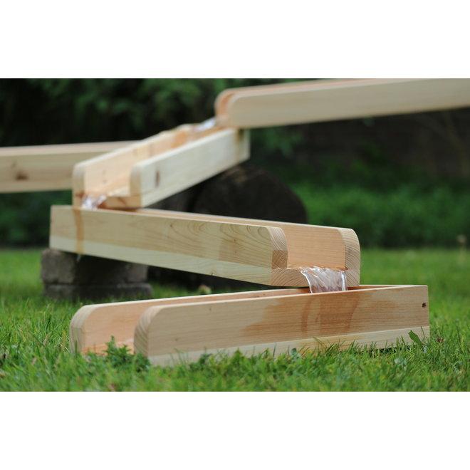 Waterbaan hout 8 meter - 12 delig